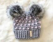 Fairisle hat, Crochet chunky hat, crochet baby hat, Double Pompom hat, Crochet toddler hat, Crochet children's hat, women's hat, Faux Fur