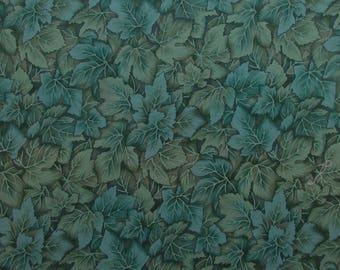 """Blue Green Leaves Fabric - Windsor Collection by Hoffman International Fabrics - Quilters Cotton - 31"""" x 42"""""""