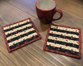 Quilted Mug Rugs /Handmade / Country Decor / Item #1979