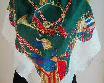 Vintage Silk Equestrian Scarf / gold / red / green / hand rolled