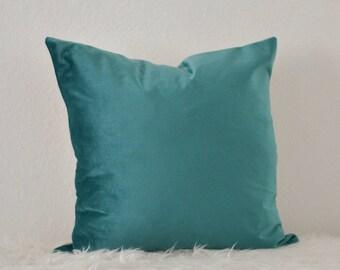 Decorative Pillow, Teal Velvet Pillow, Sea Green Velvet Pillow