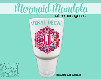 Monogram Decal - Mermaid Mandala - Sticker - Mermaid Scales - Custom Decal - Car - Tumbler - Mug - Cup - Mandala Design