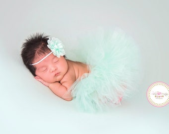 NEWBORN TUTU SET, Half Newborn Tutu, Mint Colered Newborn Tutu and Matching Headband Set, Baby Shower Gift,Photography Prop