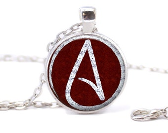 Atheist Logo, White and Wine Red, Pendant