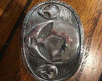 Sterling silver handmade alien belt buckle. Made in the USA