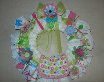 Pastel Diaper Wreath - Pink, Green Flowers