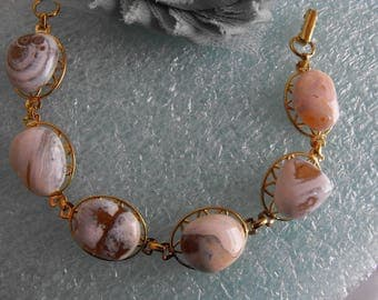Oregon Beach Agate Bracelet, Polished Stones Pad Bracelets