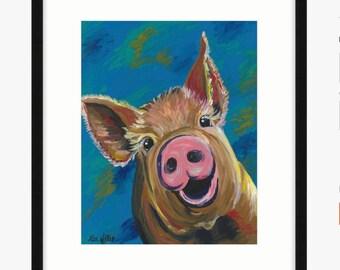Pig art, pig decor. Pig print from original Pig on canvas painting.
