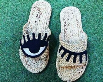 Eye Sandals / Greek Sandals / Beach Sandals / Gift / Woman / Summer Pom Pom Sandals