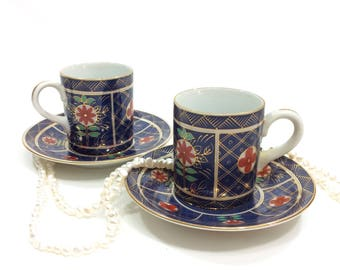 Pair Imari Demitasse Cups Japanese Demitasse Cups and Saucers, Deep Blue, Red Flowers, Deadstock, Neiman Marcus, Porcelain Cups, Vintage