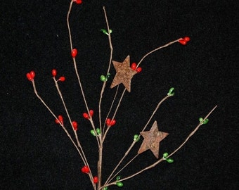 "set of 6 -- 12"" Red & Green Pip Berry Stems / Picks with Rusty STARS"