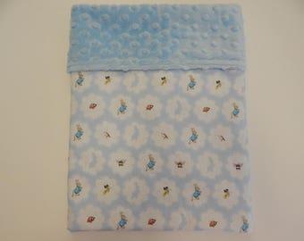 Beatrix Potter Peter Rabbit Blue Minkee Dot Backed Blanket!!! Beautiful Baby Gift **Bassinet Cradle Moses Basket Capsule Size** 75cm  x 55cm