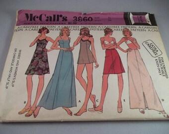 McCall's 3860 1973 Misses/Women Lingerie Slip Camisole Half Slip Size 12 CUT