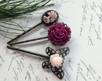 Burgundy And Skull Floral Hair Clips
