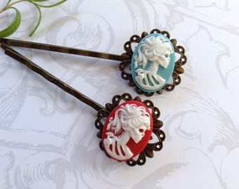 Hair Clips Set of 2, Blue And Red She Skull Hair Clips