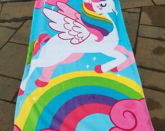 Unicorn with Rainbow Beach Towel Personalized