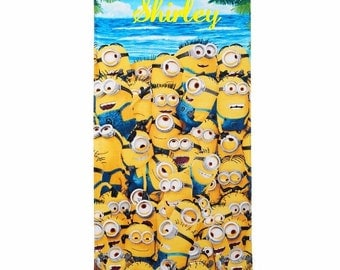 Minions Pilled Up on Beach Towel Personalized