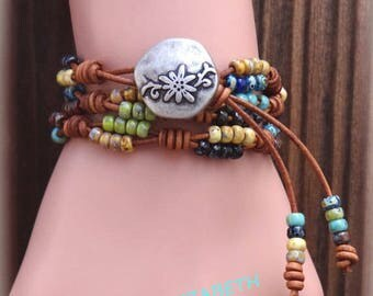Beaded Leather Wrap Bracelet/ Seed Bead Leather Bracelet/ Multi-Color Bracelet/ Seed Bead Bracelet/ Boho Wrap Bracelet/ Bohemian Bracelet.