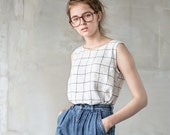Linen blouse/linen tank top in large checks