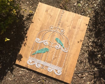 Antique Birdcage with Teal Birds String Art Wood Sign Nursery Home Decor