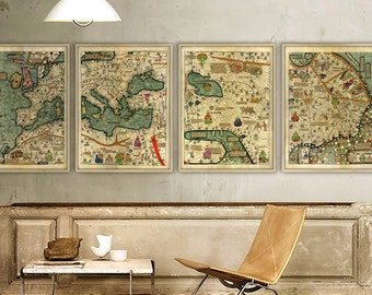 Catalan Atlas 1375, Large wall map, Rare medieval World map in 4 parts, 5 sizes up to 12 ft (360 cm) wide - Limited Edition of 100