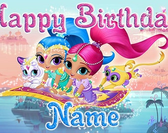 Shimmer and Shine custom birthday banner