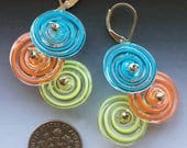 Peppermint Earrings in Turquoise Lime Orange: handmade glass lampwork beads with sterling silver components