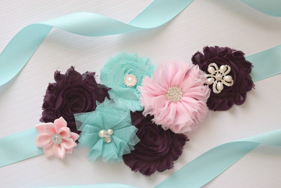 Sash, deep purple aqua and light pink Sash , flower Belt, maternity sash