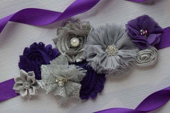 Flower Sash, Dark Purple and silver grey Sash , flower Belt, maternity sash, flower sash, wedding sash, flower girl sash
