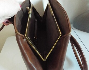 VINTAGE 1950's Ladies Brown Faux Leather large Two Handle Handbag three compartments  three zipped pockets