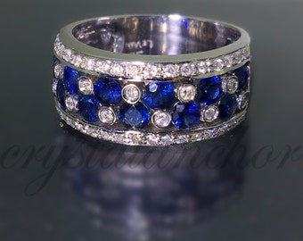 18k White gold Authentic LeVIAN natural Vanilla Diamond & Blue Sapphire ring