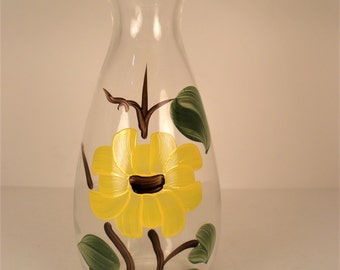 Yellow Flower painted Vintage Glass Vase Mid Century appeal.
