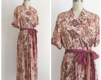 Vintage 1940s Floral Print Wrap Maxi Dress by Marilyn
