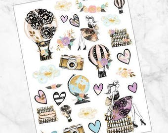 Weekly Kit / ADD ON / The Glam Traveler / Deco Sheet / Planner Stickers
