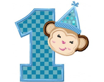 Birthday Monkey No. 1...Instant Download...Applique Machine Embroidery DESIGN NO.104