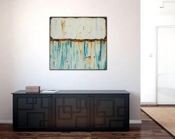 Original Textured Abstract Art on Canvas , Blue White Rust  ,36x36 inch Modern Wall Art ,Home Decor