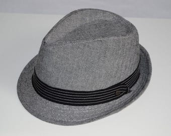 STETSON All American / Fedora Hat / Gray Herringbone / Cotton Linen / Size / Small - Medium