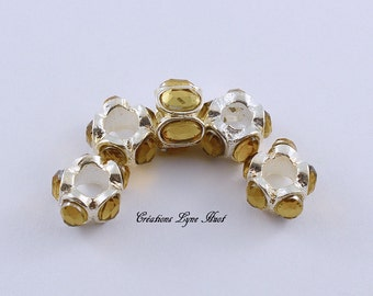 Choose 1, 3 or 5 European style charm beads tibetan silver, with amber rhinestones!