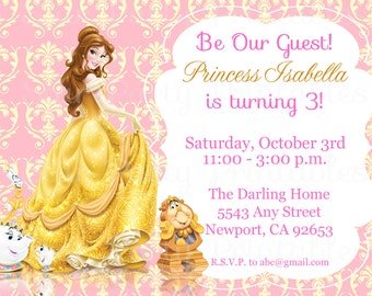 Princess Belle, Beauty & the Beast Invitation Kid's Birthday Party Invite Birthday Invitation