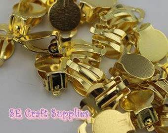 10/30pcs Gold Tone Earring Clip with 10mm Glue pad Jewelry supplies finding Earring Finding