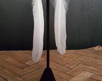 White Feather Earrings, feather earrings, dangle earrings