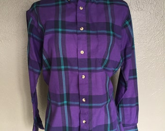 Old School Plaid Button Up Men's Shirt Purple Teal Small Long Sleeves Electric Avenue Vintage