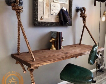 Rope & Pipe DESK Suspended Wood - Wall Mounted - Standing Computer Desk - Floating Industrial Shelf