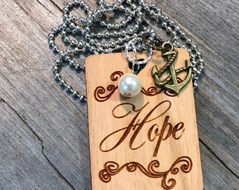 Hope Necklace, Group Gift Ideas, Group Discounts, Wedding Gifts, Laser Engraved, Customized Jewelry, Bursting Barns Laser Engraving