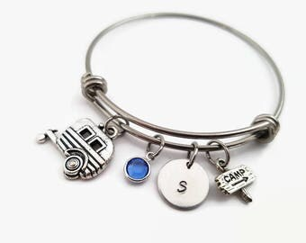 Camping bangle - Camp charm bracelet - Personalized expandable bangle - Camping lovers gift - Gift for camp counselor - Summer jewelry -