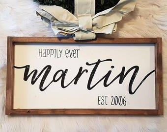 "Custom wedding sign - Custom last name sign 12x24"""