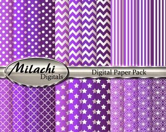 60% OFF SALE Purple Digital Paper Pack - Commercial Use - Instant Download - M163