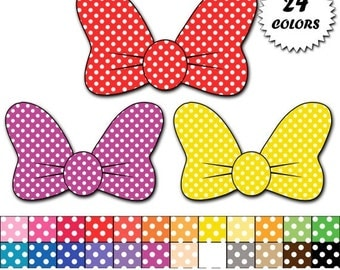 60% OFF SALE Minnie mouse bow clipart, polka dot Minnie bows clip art, digital scrapbooking, commercial use - Instant Download - M347