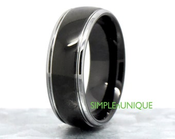 Two Tone Wedding Band Mens, Black Ion Plated Wedding Band with Silver Edges, Mens Tungsten Ring Wedding Promise Engagement, Gift for Him