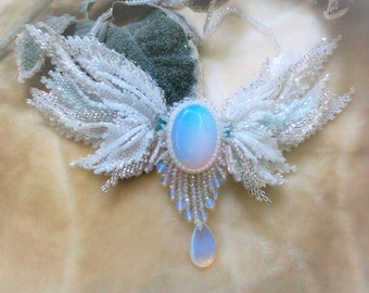 "Necklace from beads""Lunar angel"""